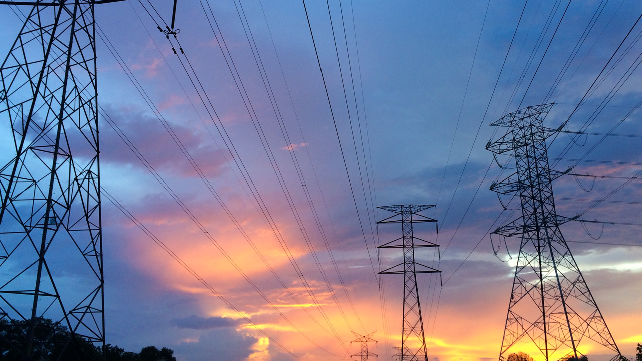 Sunset Skyline and Powerlines